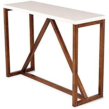 kate and laurel kaya twotoned wood console table with white top and walnut brown