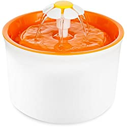 TOPCHANCES New Year Deals Automatic Cat Dog Flower Water Fountain Pet Drinking Water Bowl (Orange)(Silicone Pad Not Include )
