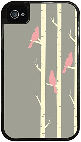 Birds Pink on a Perch Perched in Tree Black 2-in-1 Protective Case with Silicone Insert for Apple iPhone 4 / 4S by Moonlight Printing