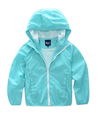 (Hiheart Boys Summer Lightweight Hooded Water Resistant Jacket Blue 9/10 )