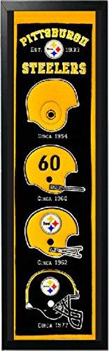 (Encore Pittsburgh Steelers Logo History Felt Banner - 14 x 37 Framed )