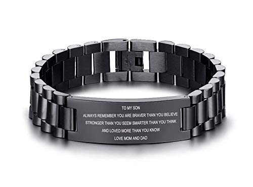 MEALGUET Stainless Steel to My Son Love Dad and Mom Courage Inspirational Wristband Link Bracelets, Graduation Birthday Gifts to Son (Best Birthday Message For Son)