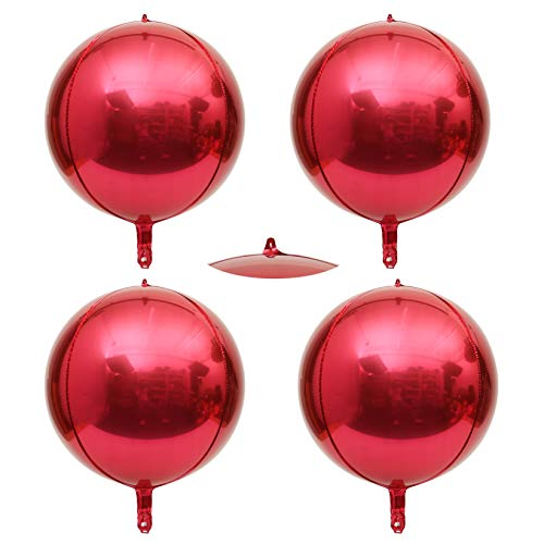 Hangable 4 Count 16 Red 4D Large Round Sphere Aluminum Foil Balloon Mirror Metallic Xmas Red Balloon Birthday Party Wedding Bachelorette Marriage Decor Supplies Eanjia (Red, 16)