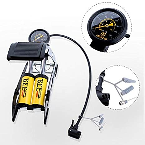 Scooter Motorcycle Portable Foot Air Mercury for Ball Precision Pressure Gauge High Pressure Pedal Inflator Bicycle Toys Balls Inflatable WUYASTA Double Cylinder Foot Air Pump Car Pumping
