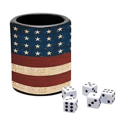 LANG - Dice Cup and Dice - Grand Old Flag - Art by Warren Kimble: Toys & Games