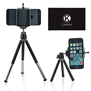Camkix Universal Adjustable Tripod Kit for Smartphones including Tripod / Universal Phone Holder / Velvet Bag / Microfiber Cleaning Cloth - Suitable for iPhone, Samsung and Most Other Phones...
