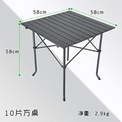 Xing Lin Table D'Extérieur Portable Outdoor Table Pliante En Aluminium Grill Pique-Nique Conduite À L'Ultralight Nuit Les Étals Du Marché Des Tables Rectangulaires, 58*58 Tables Carrées