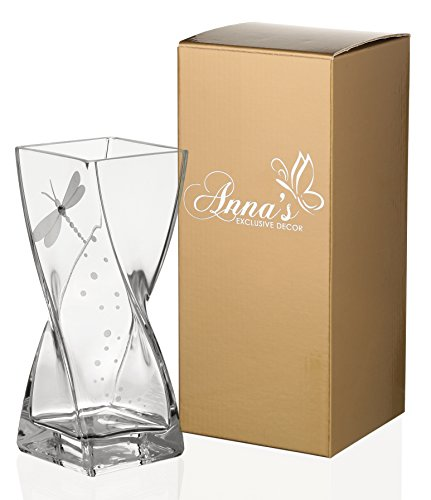 (Dragonfly Vase - Handmade Glass Vase Decorated with Swarovski Crystal and Sandblasted Dragonfly - Presented in a Golden Gift Box - Diamond Collection - Clear, 7.9 inch (20 cm))