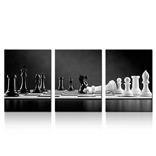 iKNOW FOTO 3 Panel Modern Black and White Chess Board Canvas Wall Art Poster Prints Checkmate Move on Chessboard Pictures Still Life Painting Framed Giclee Artwork for Office Decor 12x16inchx3pcs (Best Chess Moves For Black)