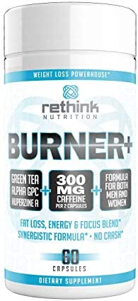 Rethink Nutrition Burner+ - Fat Burner, Clean Energy, Tunnel Vision Focus, Caffeine, Alpha-GPC, Green Tea Extract, Huperzine A, for Men and Women, Weight Loss Supplement, 60 Caps 1