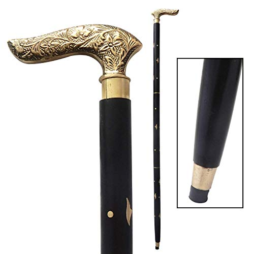 (WhopperOnline Wooden Walking Stick Vintage Black Sheesham Wood Decorated with Brass Handle Walking Stick for Men and Women, Wooden Decorative Canes and Walking Sticks - 37 inch)