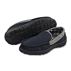 LA PLAGE Men's Anti-Slip Moccasin Slippers Indoor/Outdoor Microsuede Moccasin Slippers with Hardsole