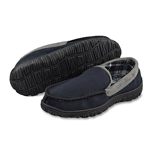 LA PLAGE Mens Advanced Anti-Slip Indoor/Outdoor Microsuede Moccasin Slippers with Hardsole
