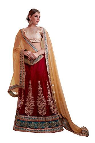 IWS Womens Maroon Striking Lehenga Choli With Embroidery Work 80924