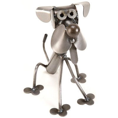 Itty Bitty Sitting Dog Recycled Metal Sculpture