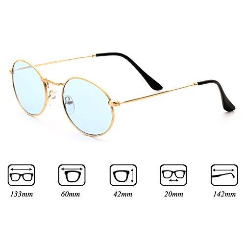 de clair soleil UV400 métal lunettes soleil hommes cadre Small jaune rétro C5 lentille lunettes Juleya ovale femmes de q86tI