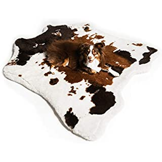 Treat A Dog Puprug Faux Cowhide Memory Foam Orthopedic Dog Bed, Premium Memory Foam Base with Ultra-Soft Faux Fur Cover, Water-Resistant Liner, Easy to Clean (Brown and White)
