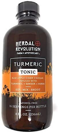 Herbal Revolution | Turmeric Tonic | Superfood Blend of Organic Raw Apple Cider Vinegar, Honey, Turmeric, and Spices | Incorporate Turmeric into Your Daily Life | 8 Fl Oz Bottle