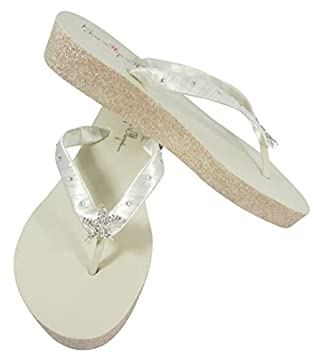 25774c49c Pearl with Crystal Rhinestone Accented Ivory Wedge Flip Flops in 3.5 inch  Champagne platform heel. Loading Images.