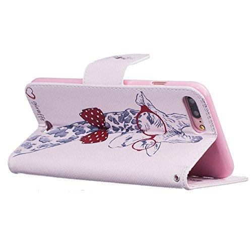 Voguecase® für Apple iPhone 7 Plus hülle,(Hirsch mit Krawatte) Kunstleder Tasche PU Schutzhülle Tasche Leder Brieftasche Hülle Case Cover + Gratis Universal Eingabestift