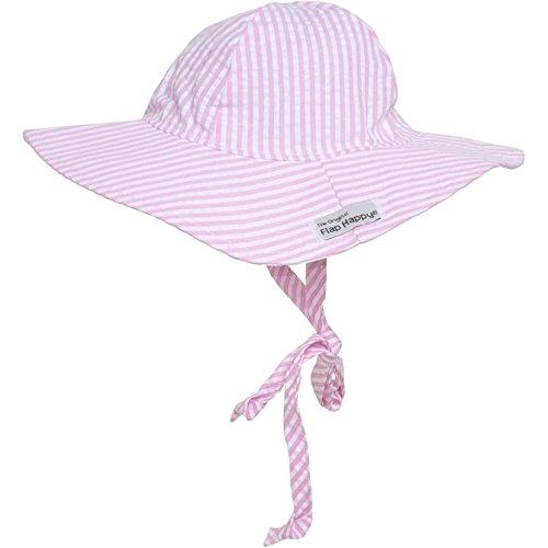 s' UPF 50+ Floppy Hat, Pink Stripe Seersucker, X Small (Flap Happy Floppy Hat)