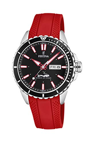 Men's Watch Festina - F20378/6 - Day/Date - Diver W.R. 20 Bar - 44mm - Red Rubber
