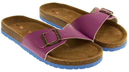Mujer Coolers de Hebilla de Correa Púrpura Cuero Imitación Sandalias YF07061 la URwnRxr75F