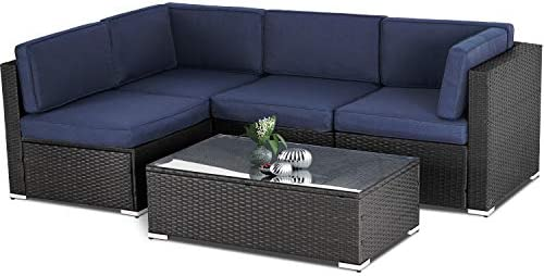 Oakmont Outdoor Patio 5 Piece Sectional Sofa Set All Weather Wicker with Olefin Cushion, Exquisite Glass-Top Coffee Table Navy Blue