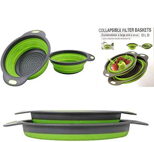 "Collapsible colander, 2 foldable kits, DLD Food Grade Silicone Kitchen Strainer Space-saving foldable filter colander, sizes 8""-2 quarts, 9.5"" -3 quarts. (Green)"