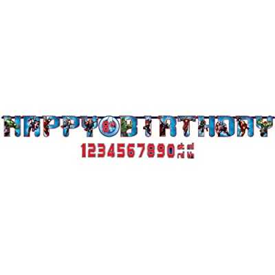 "Amscan Avengers Birthday Party Add-An-Age Customizable Jumbo Letter Banner Decoration, 2' x 10"", Multicolor: Kitchen & Dining"