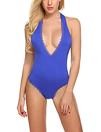 Avidlove Women Sexy Deep V Bodysuit Halter Sleeveless Backless Rompers Overall