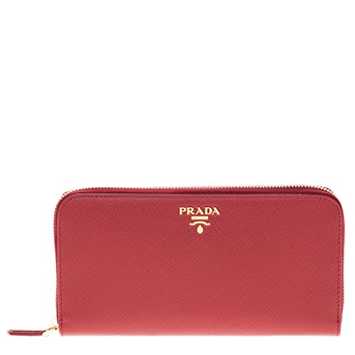 Prada Red Leather - Prada Women's Saffiano Leather Wallet Blue