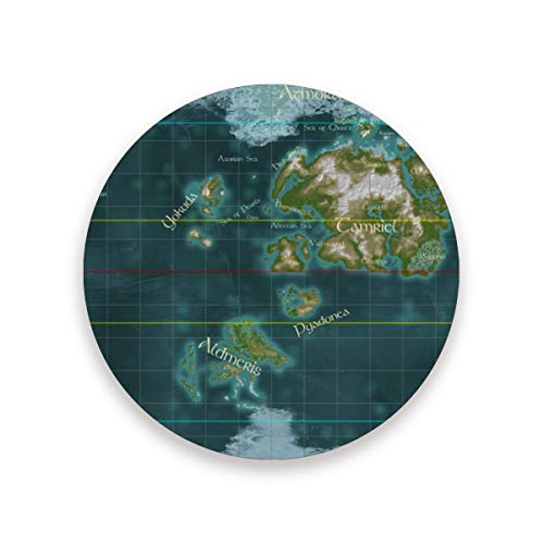 World Map Of Nirn Drink Coasters Mat 3.9in Ceramic Stone Coasters with Cork Base Prevent Cups from Dirty and Scratched Suitable for Kinds of Mugs and Cups Set of 4
