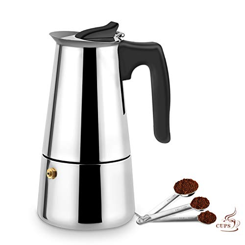 Stovetop Espresso Maker,Moka pot, Espresso Machine,Stainless Steel Espresso Machinefor 9 cups (450 ml),Italian coffee maker Espresso and Coffee Maker for for Gas or Electric Ceramic Stovetop