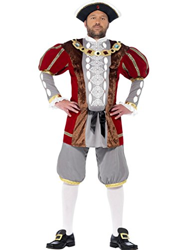 Henry The Eighth Costume (Smiffy's Men's Henry Viii Fancy Dres Costume Plu Free Hat Men: Large Red)