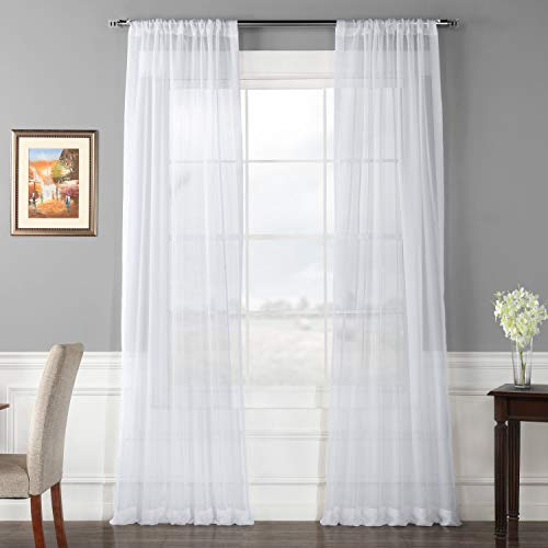 Half Price Drapes SHCH-VOL1-108-PR Pair Voile Poly Sheer Curtain, 2 Panels, Solid White