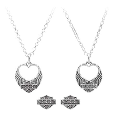 Harley-Davidson Womens Winged Heart Necklace & Earrings Gift Set, Silver HDS0004
