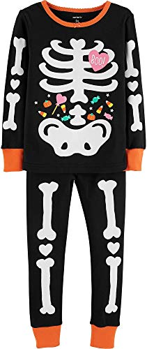 Carter's Toddler Girls Glow-in-The-Dark Skeleton Pajama Set 2T Black/White/Orange]()