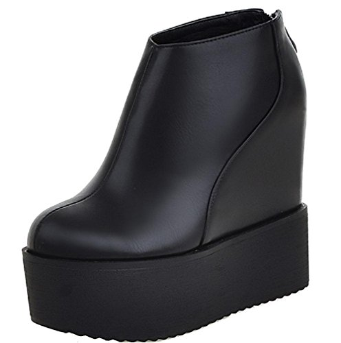 Boots Solid high Allhqfashion Ankle Heels High PU Women's Black Zipper 618qwInT1