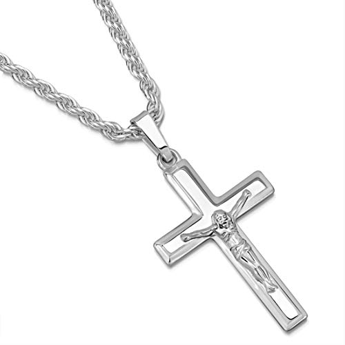 (Sterling Silver Crucifix Cross Pendant Italian Made 2.5mm Rope Chain Necklace - 050 2.5mm - 22