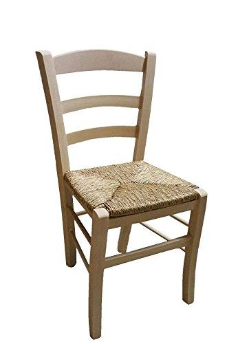 Sedia in legno da verniciare seduta in paglia ristorante casa PAESANA già montata OKAFFAREFATTO MADDALONI
