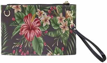 98aad05d Handbag Shoulder Bags Envelope Clutch Tropical Floral Seamless Pattern  Plumeria Hibiscus Clutch Purse For Women Wrist