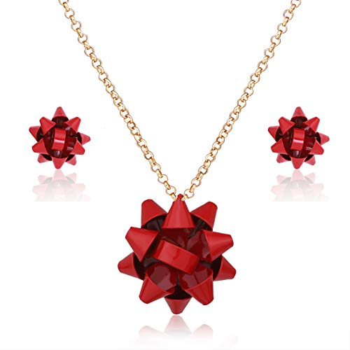 - MOLOCH Christmas Necklace Earring Set Statement Gift Bow Pendant Necklace Post Stud Earring Set Christmas Jewelry Gifts for Women Girls (Red)