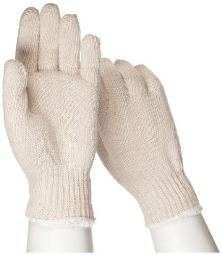 """West Chester 708S Cotton Polyester Glove, Elastic Wrist Cuff, 9.5"""" Length, Large (Pack of 12 Pairs)"""
