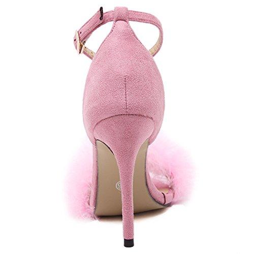 Feder Pink Sommer Hochzeit Ximu Heels Pumpen Party Schuhe Sexy High Sandalen 11cm Damen Schuhe Heel dFAaq