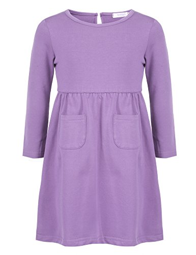 Arshiner Little Girls Long Sleeve Solid Color Casual Skater Dress, Purple, 110(Age for 4-5Y) by Arshiner