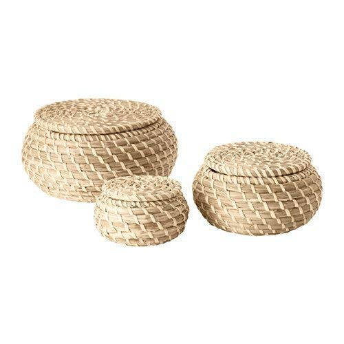 Ikea Seagrass Box with lid, Set of 3, sea Grass (Wicker Small Baskets Lidded)