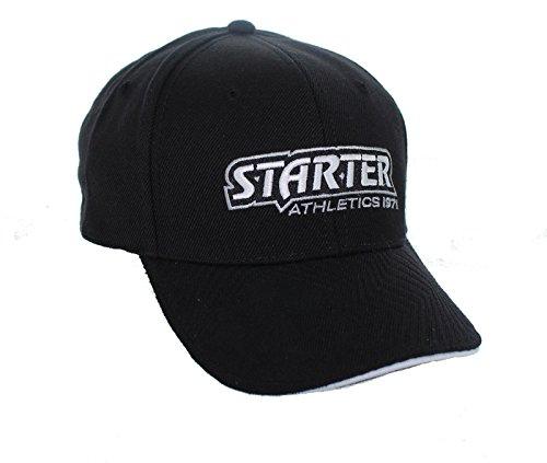 New! Starter Athletic Adjustable Back Hat Embroidered Curved Bill Cap - Black