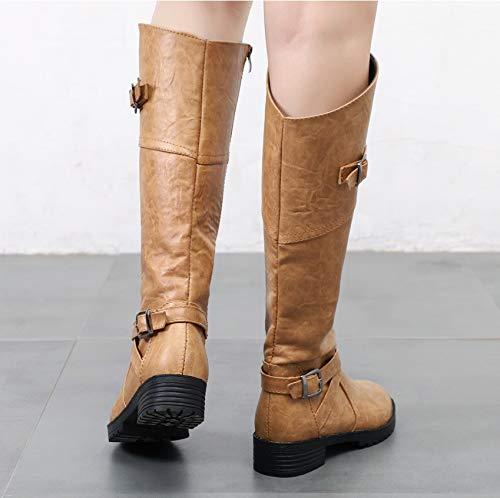 Größe Und LIANGXIE Winter 2018 Stiefel Große Stiefel Und Amerikanischen Frauen brown Stiefel Hohe Herbst Dark Martin Europäischen B1ISqYIn
