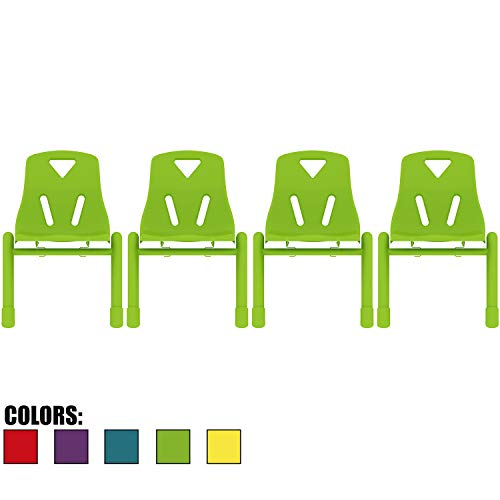 2xhome Set of 4 Kids Chair Stackable Chairs Molded Plastic Metal Leg for Preschool School Child Children 2 3 4 5 Years Old for Home Kitchen Dining Room Activity Table Desk Bedroom Daycare Green